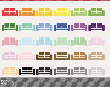 Sofa Digital Clipart, Sofa Graphics, Sofa PNG, Rainbow Sof
