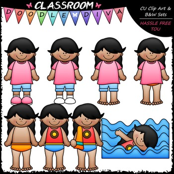 Sofia Gets Dressed For Swimming Clip Art - Sequence Clip Art