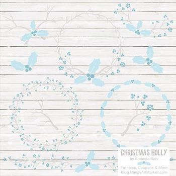 Soft Blue Christmas Holly Clipart