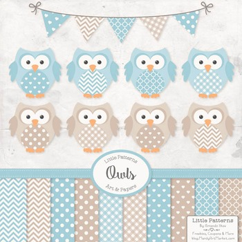 Soft Blue Vector Owls & Papers - Baby Owl Clipart, Owl Cli