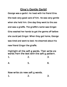 Soft G Worksheet