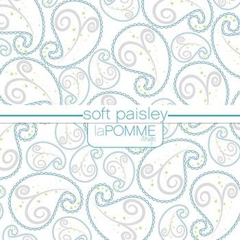 Soft Paisley Gray & Blue Digital Paper