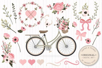 Soft Pink Floral Bicycle Vectors - Flower Clipart, Peonies