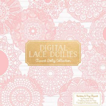Soft Pink Round Lace Doilies - Lace Doily, Vintage Doilies