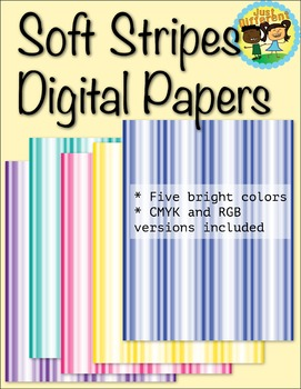 Soft Stripes Digital Papers 5 Bright Colors