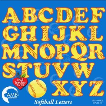 Softball Clipart, Letters Clipart, Alphabet Clipart, Sport