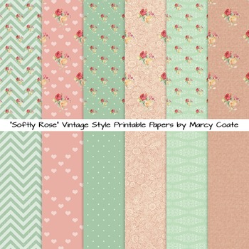 Softly Rose cottage chic printable papers (set of 12)