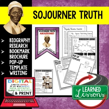 Sojourner Truth Biography Research, Bookmark Brochure, Pop