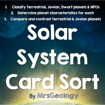Solar System Card Sort Featuring Terrestrial, Jovian, Dwar