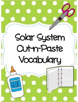 Solar System Cut-n-Paste Vocabulary