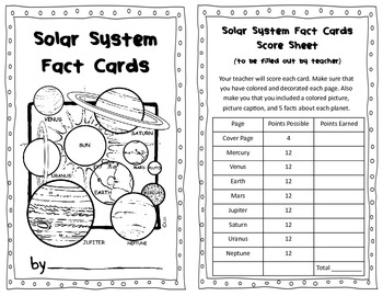 Solar System Fact Cards Informational Text Research Projec