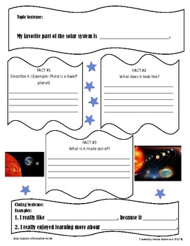 Solar System Informative Write Graphic Org.