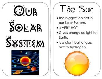 Solar System Planets Mini Book nonfiction information, vis
