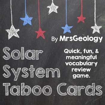 Solar System Taboo Cards (Astronomy Vocabulary Review)