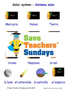 Solar System in Spanish Worksheets, Games, Activities and
