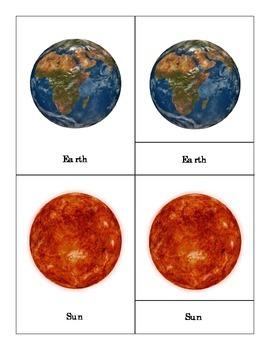 Solar system: Three Part Cards (simple version)