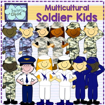 Soldier kids clipart {Multicultural} [Social Studies clip art]
