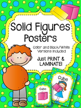 Solid Figures. Posters. Shapes. Cube. Cylinder. Cone. Pris