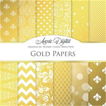 Gold Foil Digital Paper sparkle pattern scrapbook backgrou