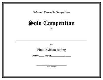Solo and Ensemble Competition Certificates