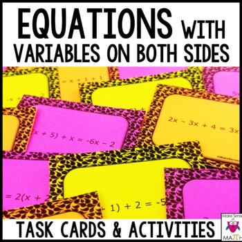 Equations with Variables on Both Sides Task Cards Middle S