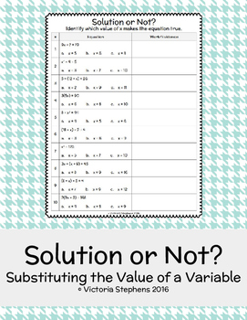 Solution or Not? Substituting the Value of a Variable