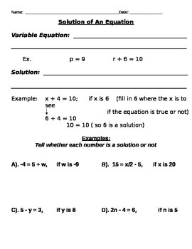 Solution to An Equation Notes and Assignment