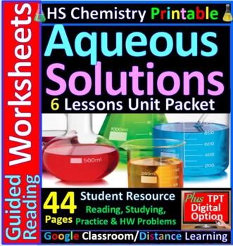 Solutions 6-Product Bundle: HS Chemistry Notes, Worksheet..etc