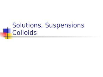 Solutions, Suspensions, and Colloids PowerPoint