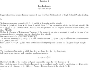 Solutions for miscellaneous exercises 1, page 15 of Pure M