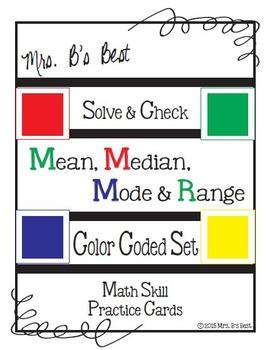 Solve & Check Color Coded: Mean, Median, Mode & Range