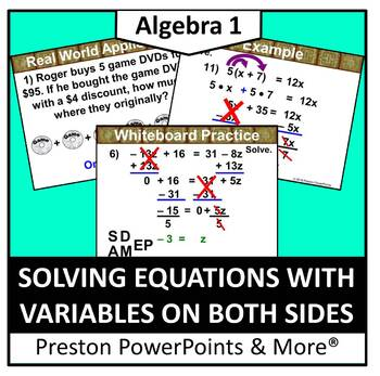 (Alg 1) Solving Equations with Variables on Both Sides in