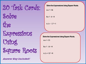 Solve Equations with Square Roots Task Cards