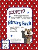 Solve It! February BUNDLE Math Logic Problems Using 100-nu