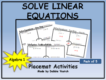 Solve Linear Equations Placemat Activities (Pack of 5)