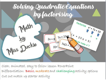 Solve Quadratic Equations By Factorizing Lesson