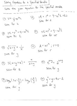 Solve for a Specified Variable