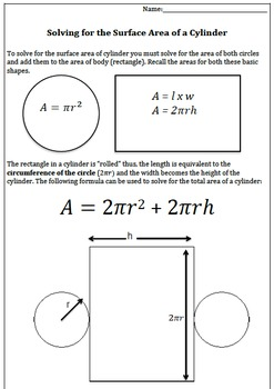Solve for the Surface Area of a Cylinder