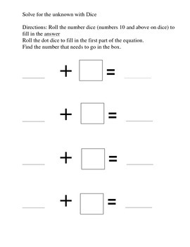 Solve for the Unknown Dice Game