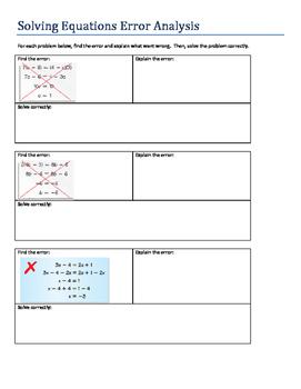 Solve multi-step equations error analysis