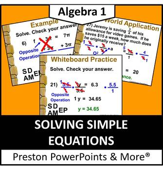 (Alg 1) Solving Simple Equations in a PowerPoint Presentation