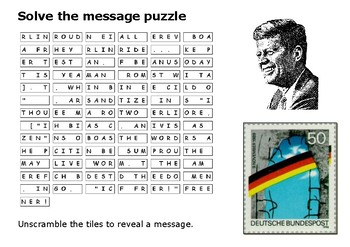 Solve the message puzzle JFK Speech Berlin Wall