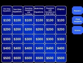 Solvig Equations Jeopardy