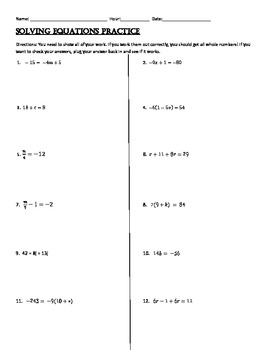 Solving 1, 2, and Multi-Step Equations Practice