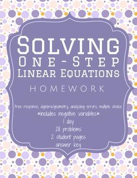 Solving 1-Step Equations Homework Worksheet