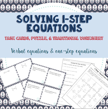 Solving 1-Step Equations:  Task Cards, Puzzle, and Assignment