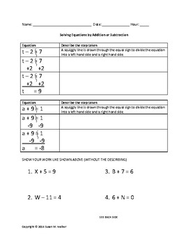 Solving 1-Step Equations by Adding & Subtracting with Exam