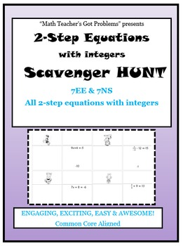Solving Equations with Integers Scavenger Hunt 7EE & 7NS