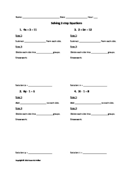 Solving 2-step Equations beginner worksheet with hints
