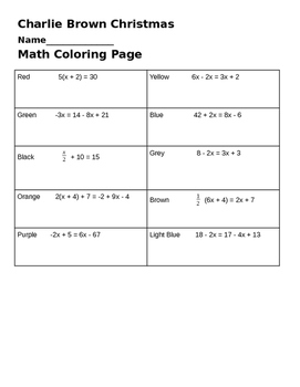 Solving 2 step equations - Charlie Brown Coloring Page